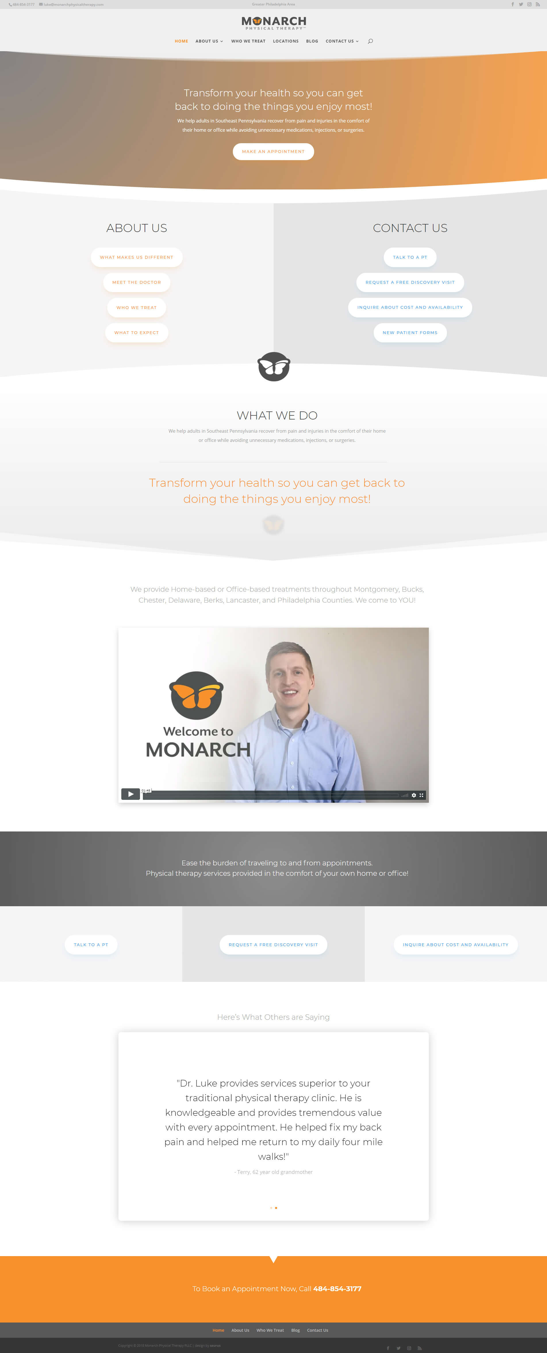 Monarch Physical Therapy Website